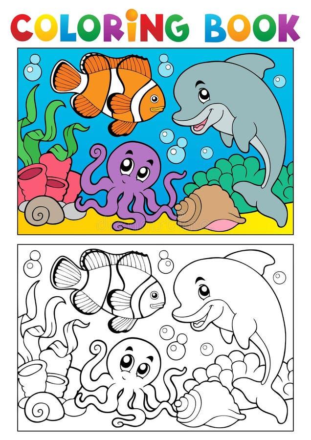 Kleurend boek met mariene dieren 6 vector illustratie