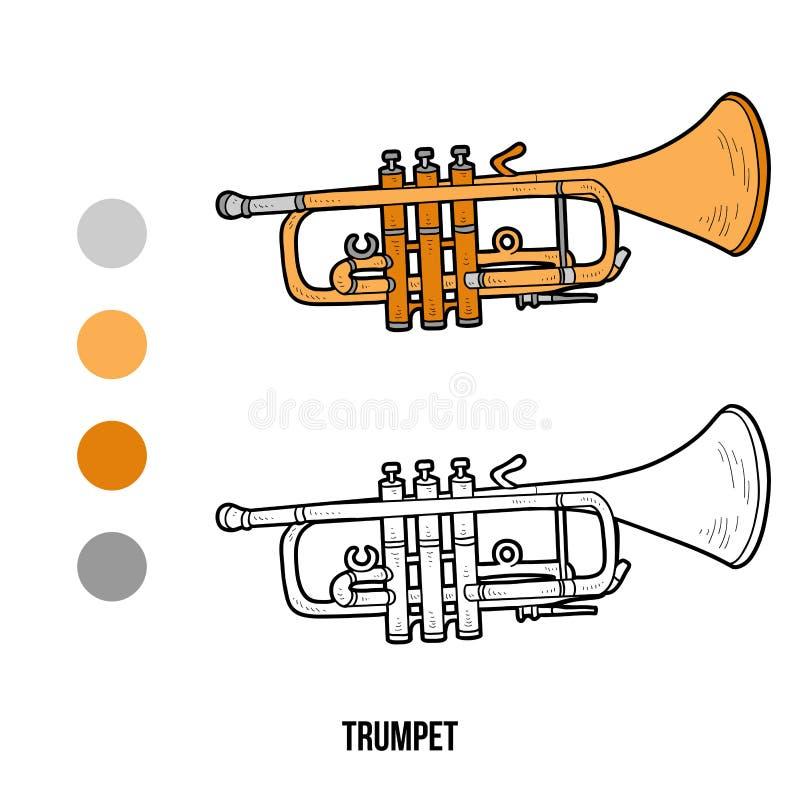 Kleurend boek: muzikale instrumenten (trompet) stock illustratie