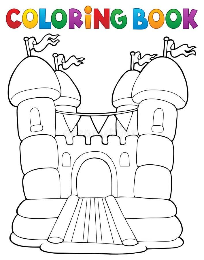 Kleurend boek opblaasbaar kasteel stock illustratie
