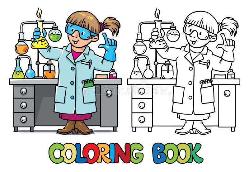 Kleurend boek van grappige chemicus of wetenschapper royalty-vrije illustratie