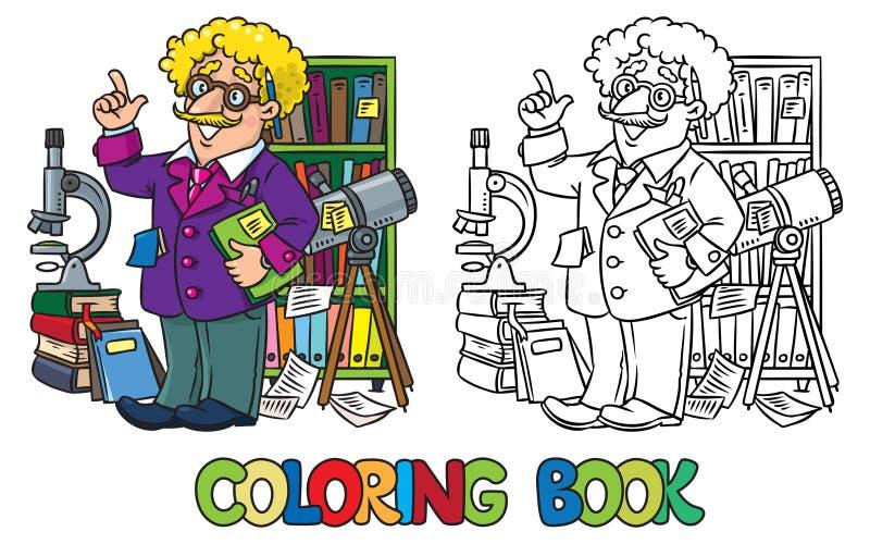 Kleurend boek van grappige wetenschapper of uitvinder royalty-vrije illustratie