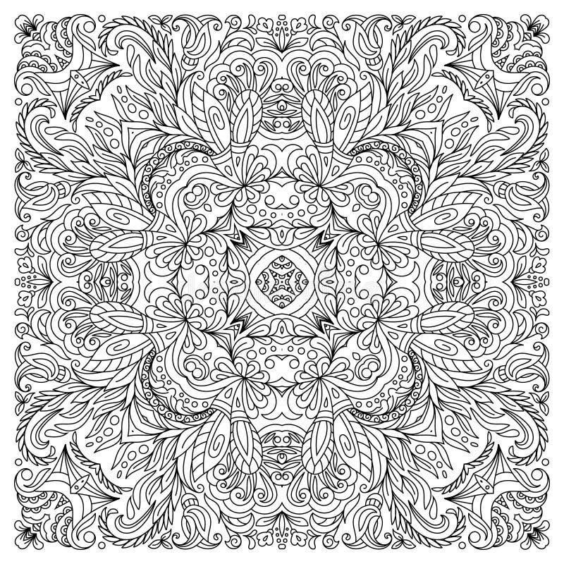 Kleurend boek vierkante pagina voor volwassenen - bloemen authentiek tapijtontwerp, vreugde aan oudere kinderen en volwassen colo vector illustratie