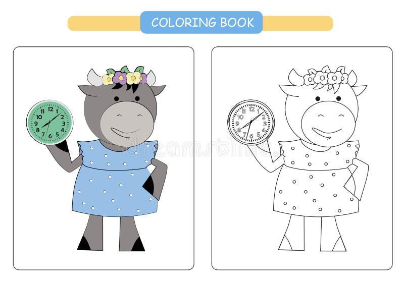 Kleurend boek voor jonge geitjes Leuke beeldverhaalkoe Vector illustratie vector illustratie