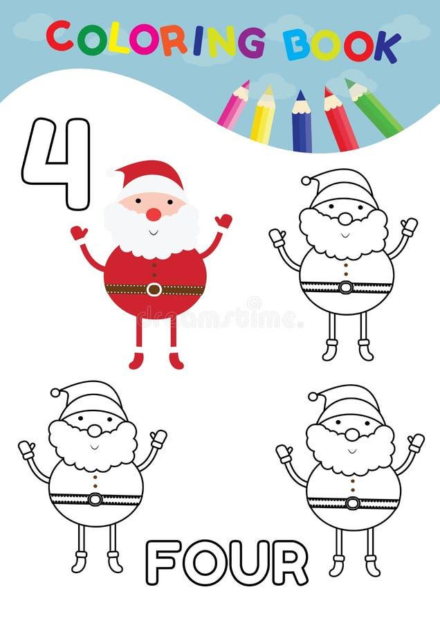 Kleurend boek voor jonge geitjes nummer vier met 4 de Kerstman vector royalty-vrije illustratie