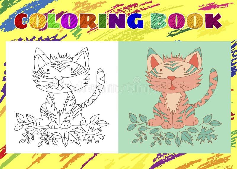 Kleurend boek voor jonge geitjes Schetsmatig weinig roze tijgerwelp vector illustratie