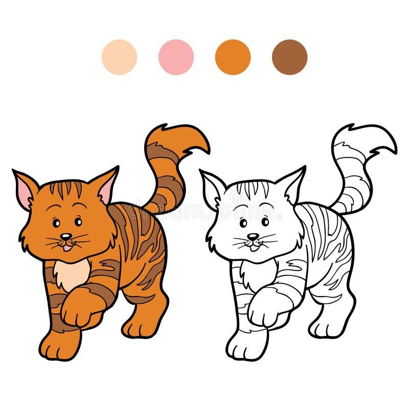 Kleurend boek voor kinderen (gestreepte kat) stock illustratie