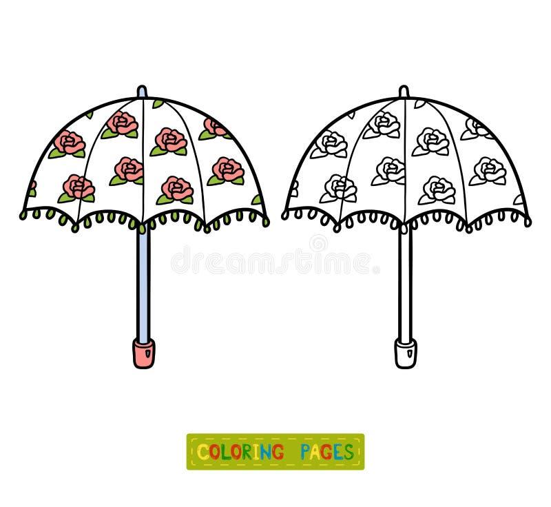 Kleurend boek voor kinderen, paraplu stock illustratie