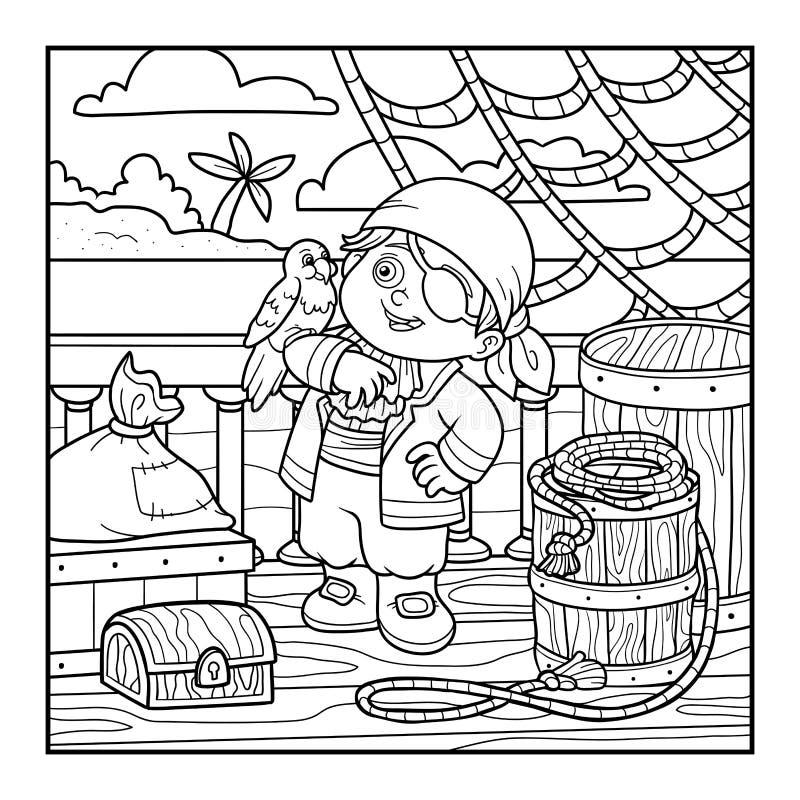 Kleurend boek voor kinderen Piraat op het dek van een schip stock illustratie