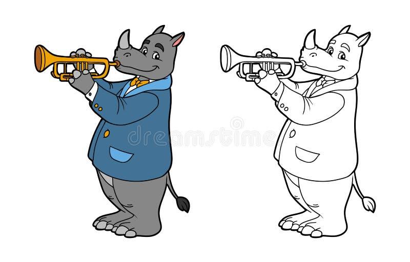 Kleurend boek voor kinderen: rinoceros en trompet vector illustratie