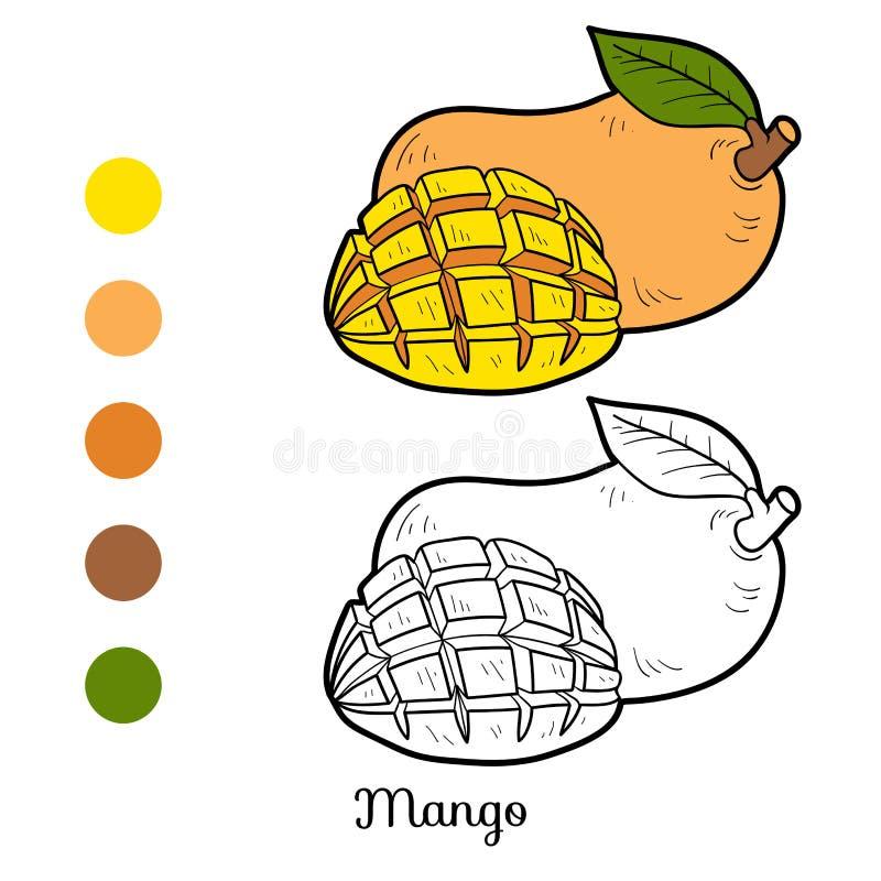 Kleurend boek voor kinderen: vruchten en groenten (mango) royalty-vrije illustratie