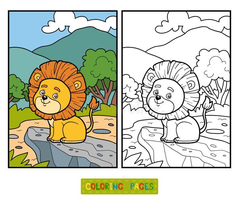 Kleurend boek voor kinderen Weinig Leeuw in Afrika vector illustratie
