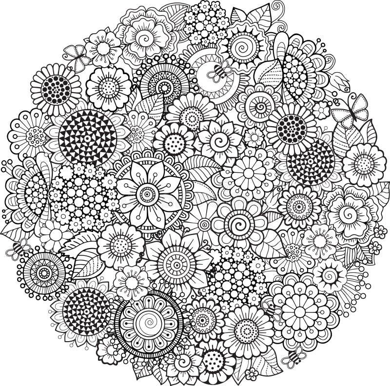 Kleurend boek voor volwassene Abstracte die krabbelachtergrond van bloemen en vlinder wordt gemaakt royalty-vrije illustratie