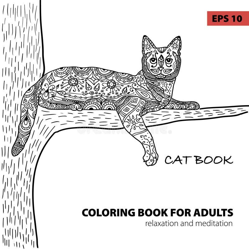 Kleurend boek voor volwassenen - zentangle kattenboek, inktpen, zwart-witte achtergrond, ingewikkeld patroon, krabbel stock illustratie
