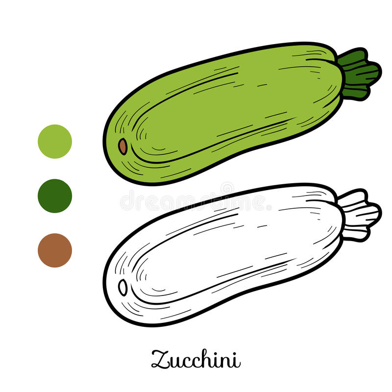 Kleurend boek: vruchten en groenten (courgette) royalty-vrije illustratie