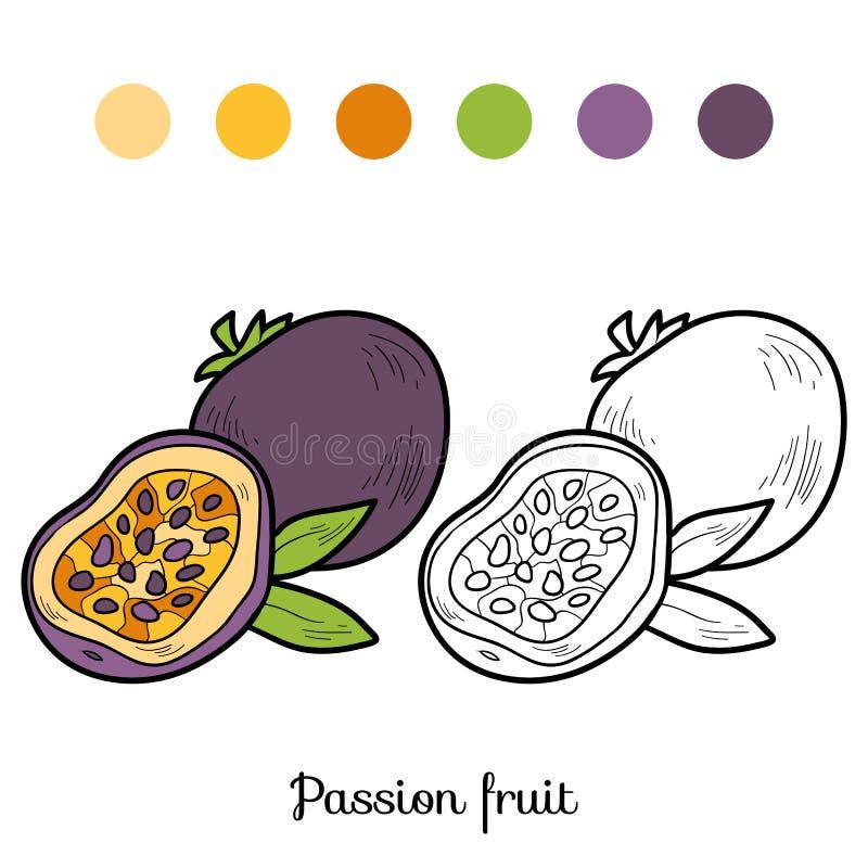 Kleurend boek: vruchten en groenten (passievrucht) royalty-vrije illustratie