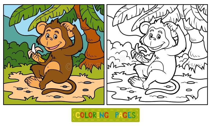 Kleurend boek: weinig aap met een banaan stock illustratie