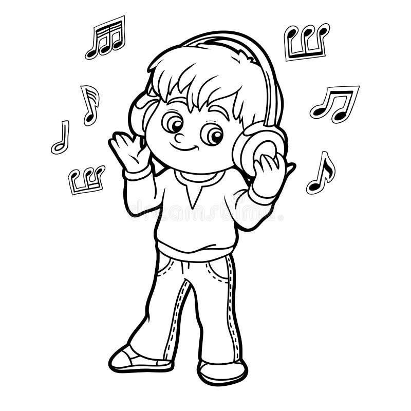 Kleurend boek: weinig jongen die aan muziek op hoofdtelefoons luistert stock illustratie