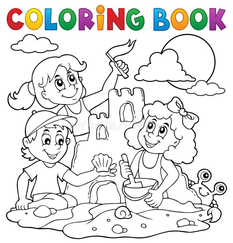 Kleurend boekkinderen en zandkasteel royalty-vrije illustratie