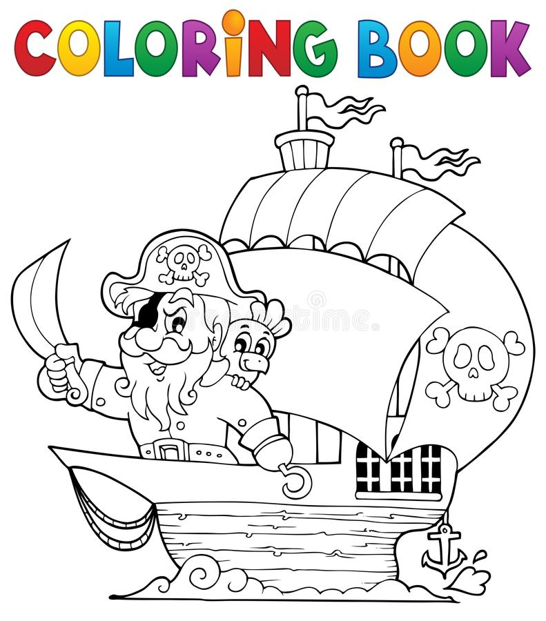 Kleurend boekschip met piraat 1 stock illustratie