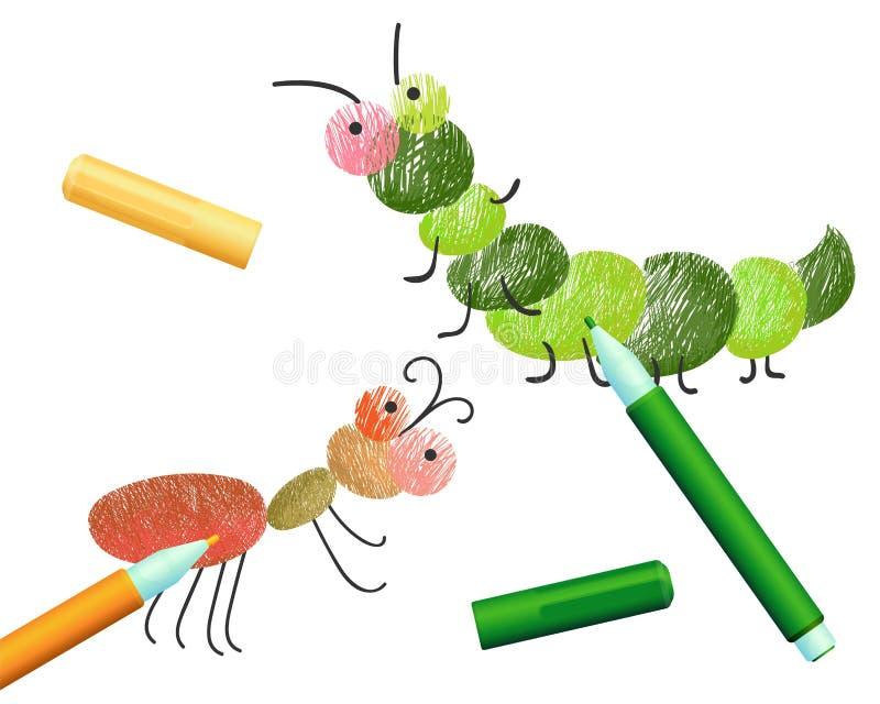 Kleurend die boek met de insecten van de rupsbandmier door viltpennen wordt gekleurd royalty-vrije illustratie