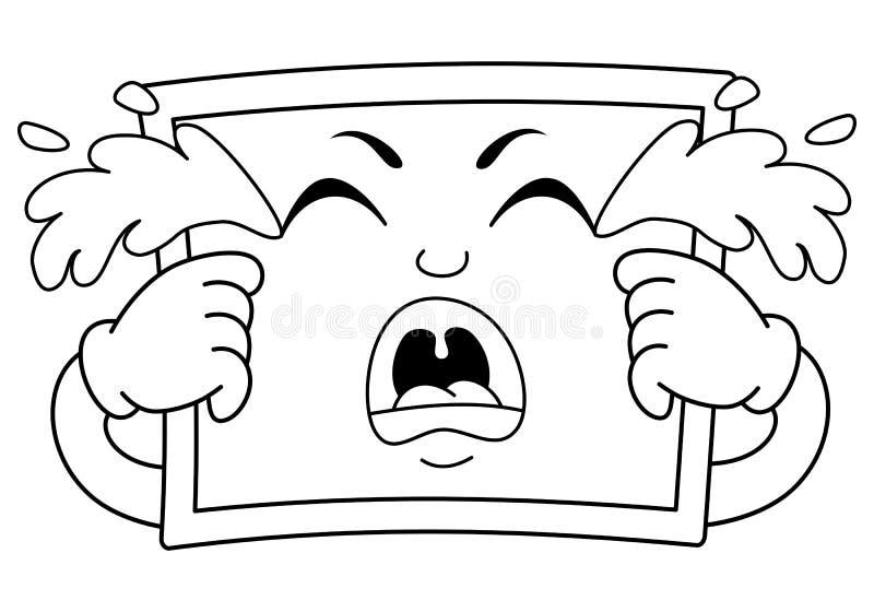 Kleurend Droevig Schreeuwend Bordkarakter vector illustratie