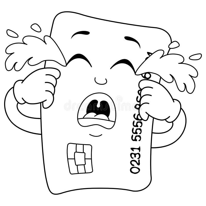 Kleurend Droevig Schreeuwend Creditcardkarakter vector illustratie