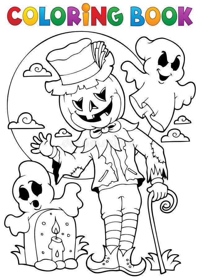 Kleurend karakter 9 van boekhalloween stock illustratie