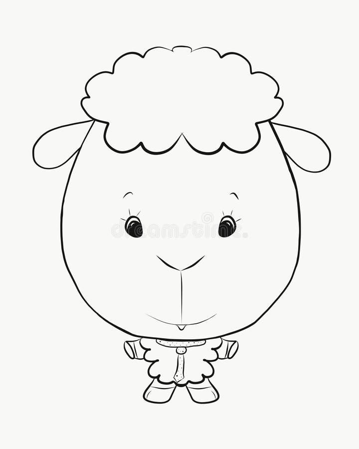 Kleurend klein grappig lam stock illustratie