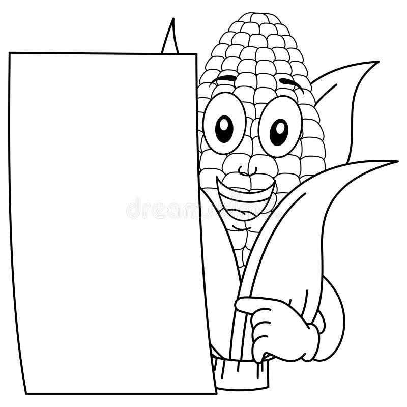 Kleurend Maïskolfkarakter met Document stock illustratie