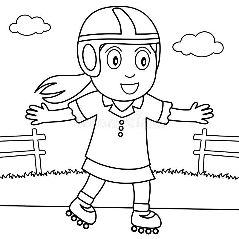 Kleurend Meisje met Rollerblade in het Park stock illustratie