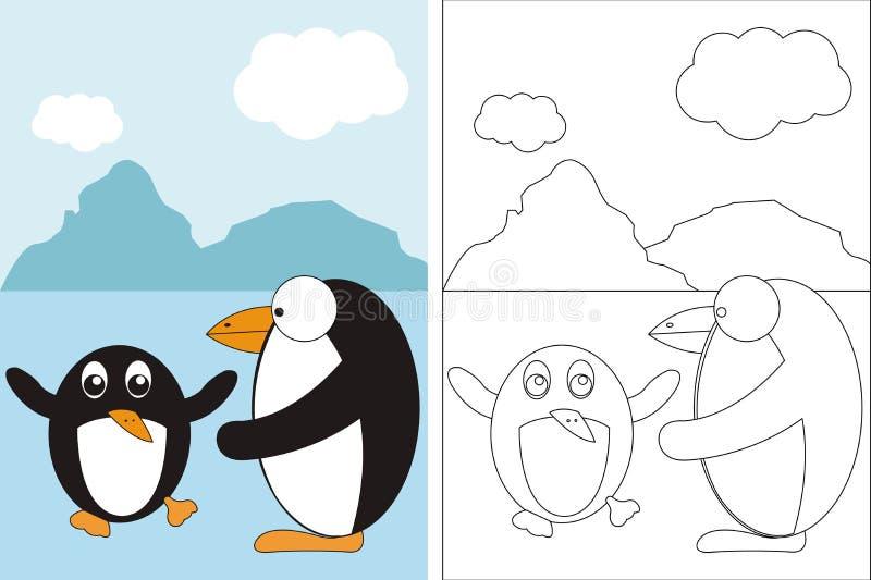 Kleurend paginaboek met twee grappige pinguïnen vector illustratie