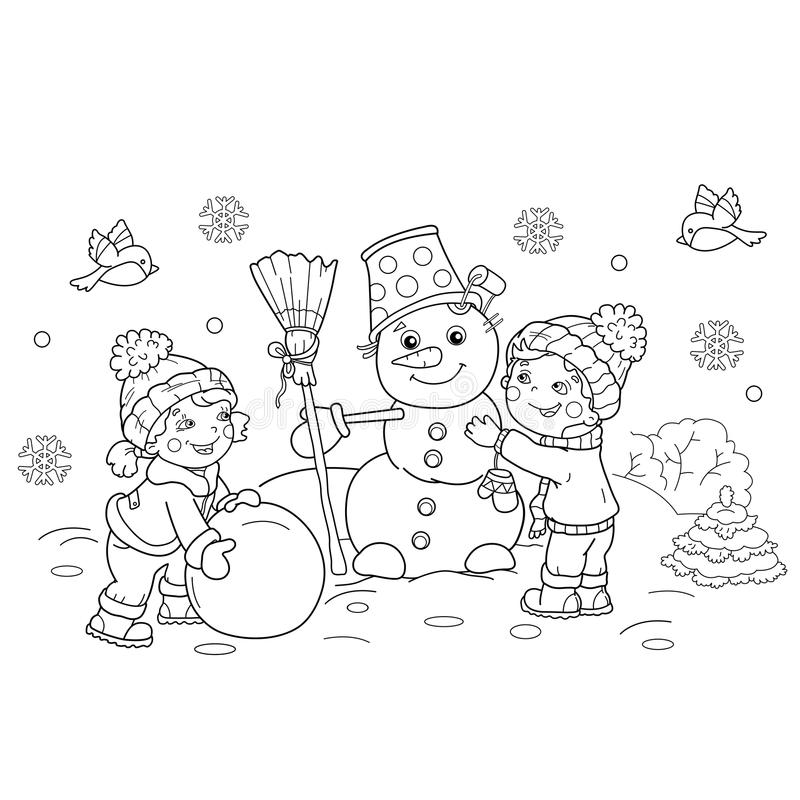 Kleurend Paginaoverzicht van beeldverhaaljongen met meisje die sneeuwman maken stock illustratie