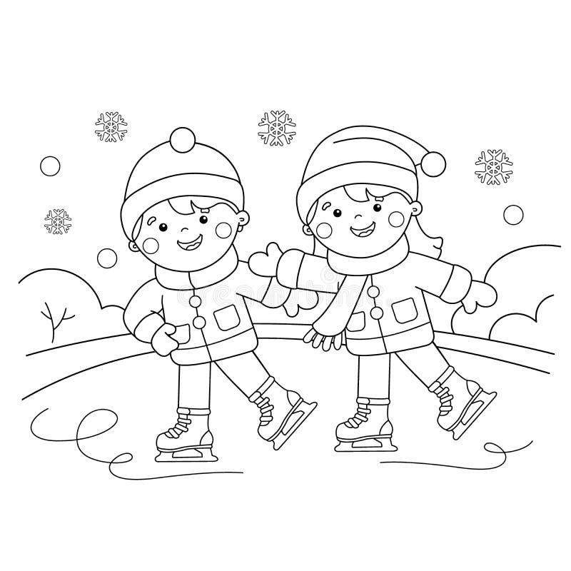 Kleurend Paginaoverzicht van beeldverhaaljongen met meisje het schaatsen Blauw, raad die, pensionair, het inschepen, oefening, ui stock illustratie