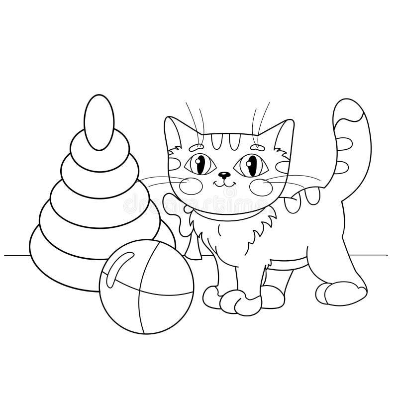 Kleurend Paginaoverzicht van beeldverhaalkat het spelen met speelgoed stock illustratie