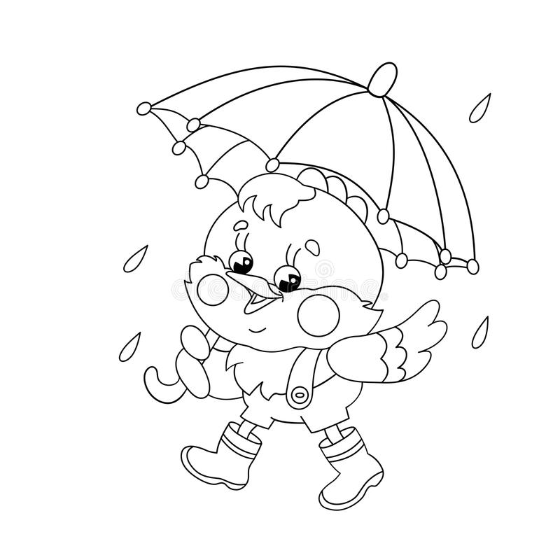 Kleurend Paginaoverzicht van een gelukkige kip die in de regen lopen royalty-vrije illustratie