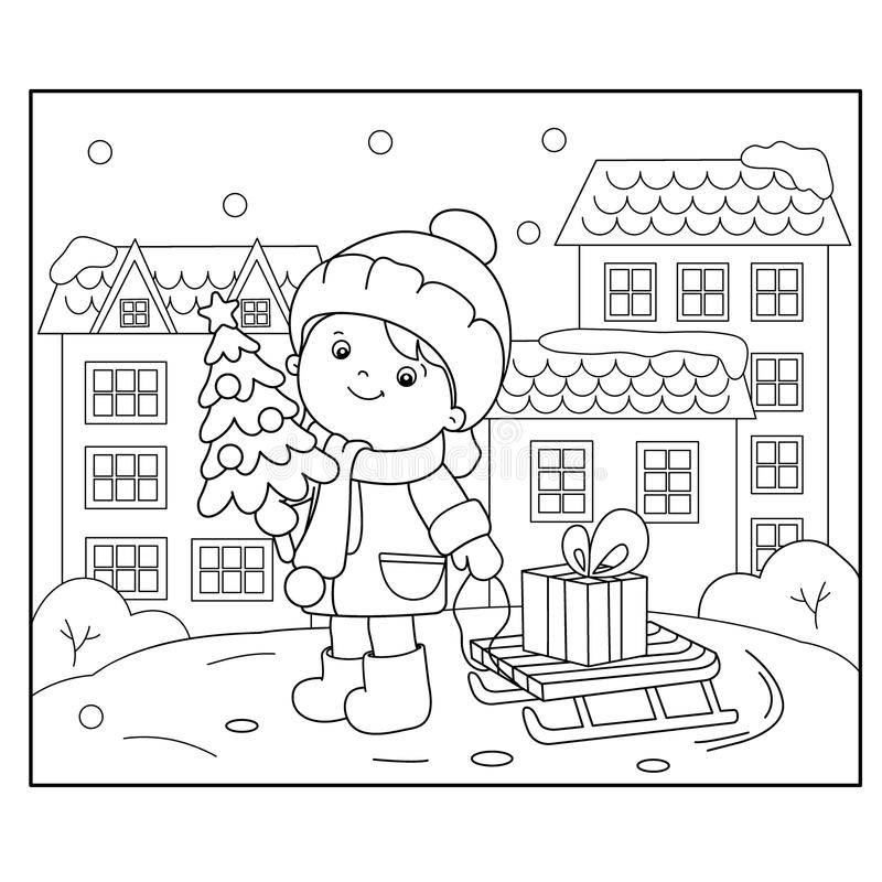 Kleurend Paginaoverzicht van meisje met giften bij Kerstboom Kerstmis Nieuw jaar Kleurend boek voor jonge geitjes royalty-vrije illustratie