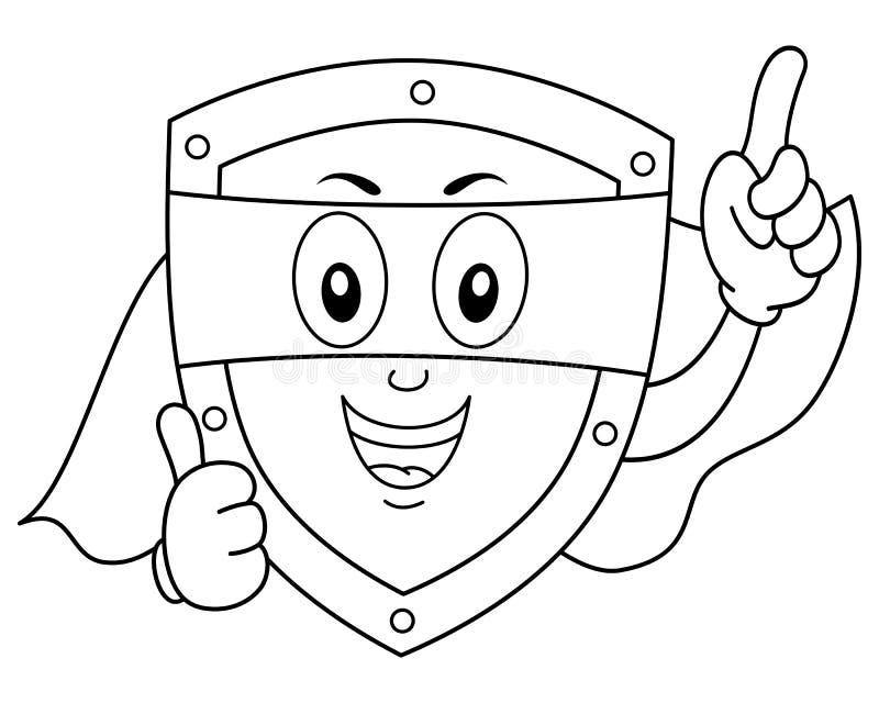 Kleurend Superhero-Veiligheidsschild vector illustratie
