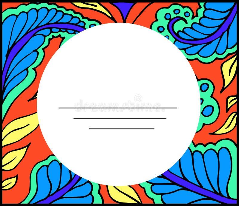 Kleurende antistress bloemen abstracte lege kaart royalty-vrije stock afbeeldingen