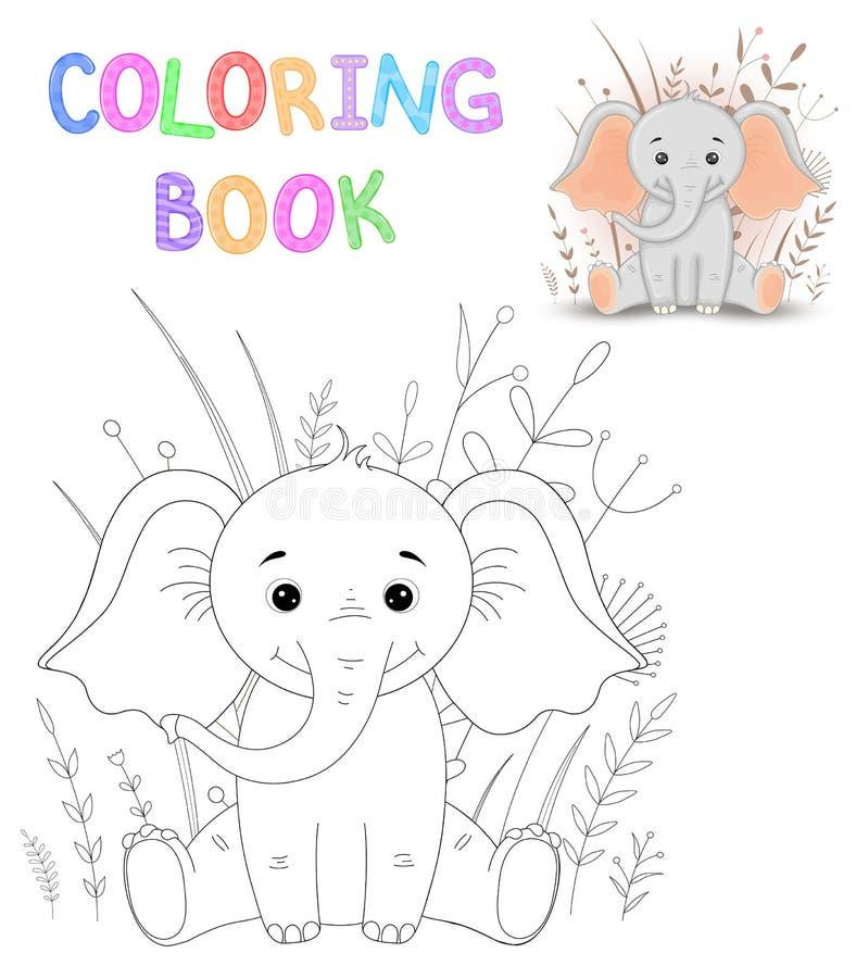 Kleurende boek of pagina voor kinderen van school en peuterleeftijd Het ontwikkelen van kinderens kleuring Vector beeldverhaal stock illustratie