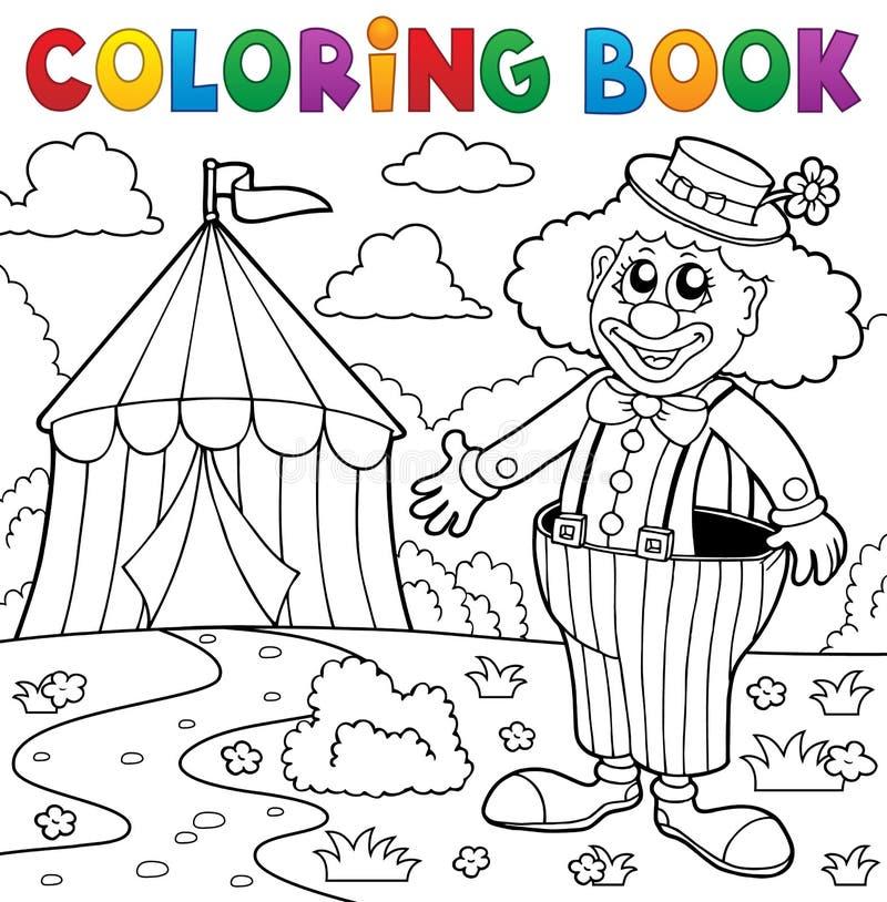 Kleurende boekclown dichtbij circusthema 5 vector illustratie