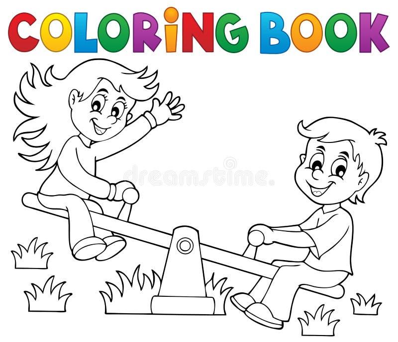 Kleurende boekkinderen op geschommelthema 1 vector illustratie