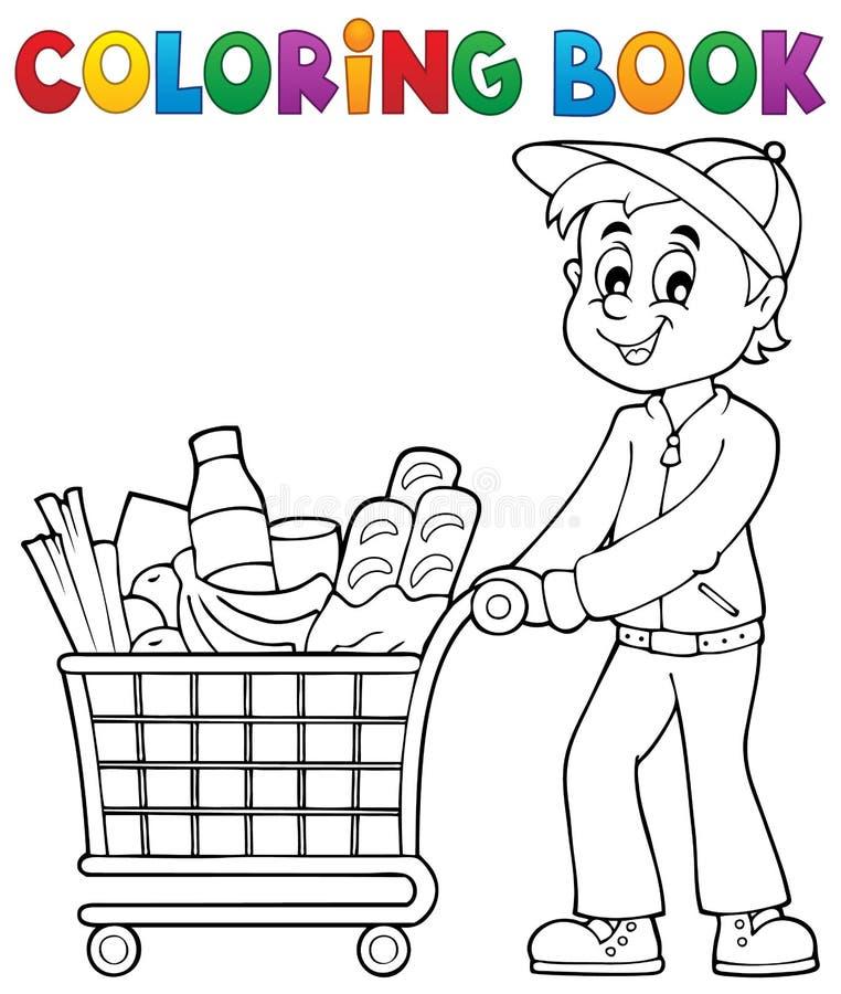 Kleurende boekmens met boodschappenwagentje royalty-vrije illustratie