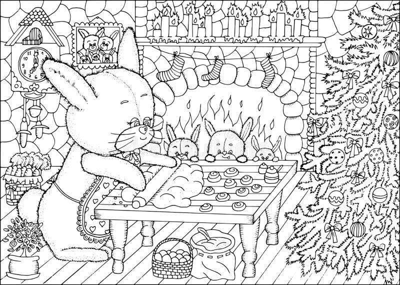 Kleurende boekpagina De koekjes van Kerstmis royalty-vrije illustratie