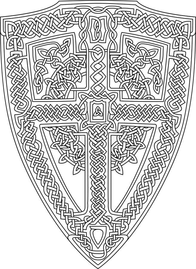 Kleurende boekpagina met Keltisch schild stock illustratie