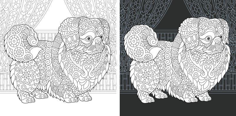 Kleurende boekpagina met pekingese hond stock illustratie