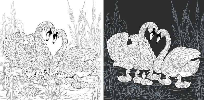 Kleurende boekpagina met zwaanfamilie royalty-vrije illustratie