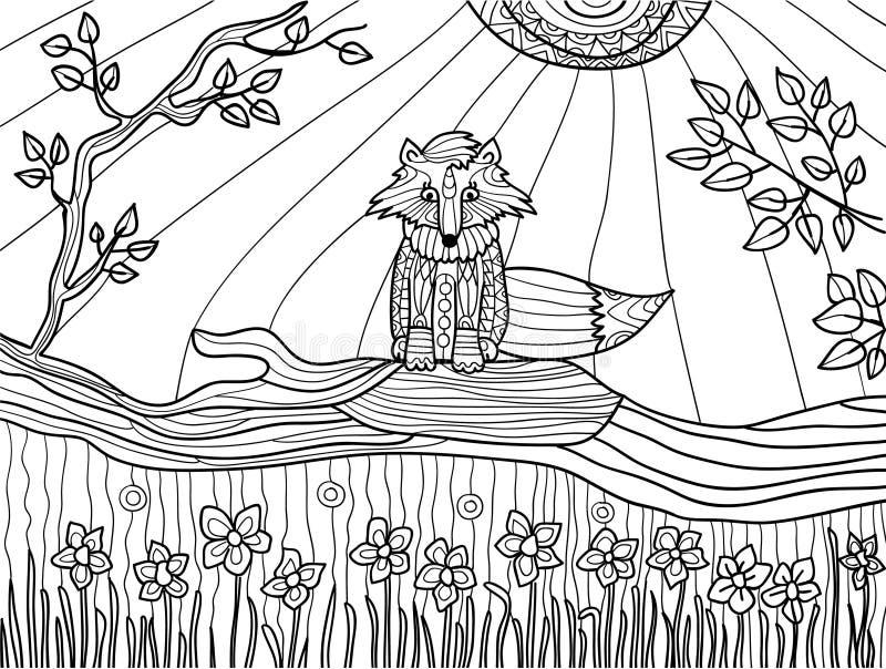 Kleurende boekpagina's voor volwassenen: grappige voswelp op gevallen boom, vector royalty-vrije illustratie