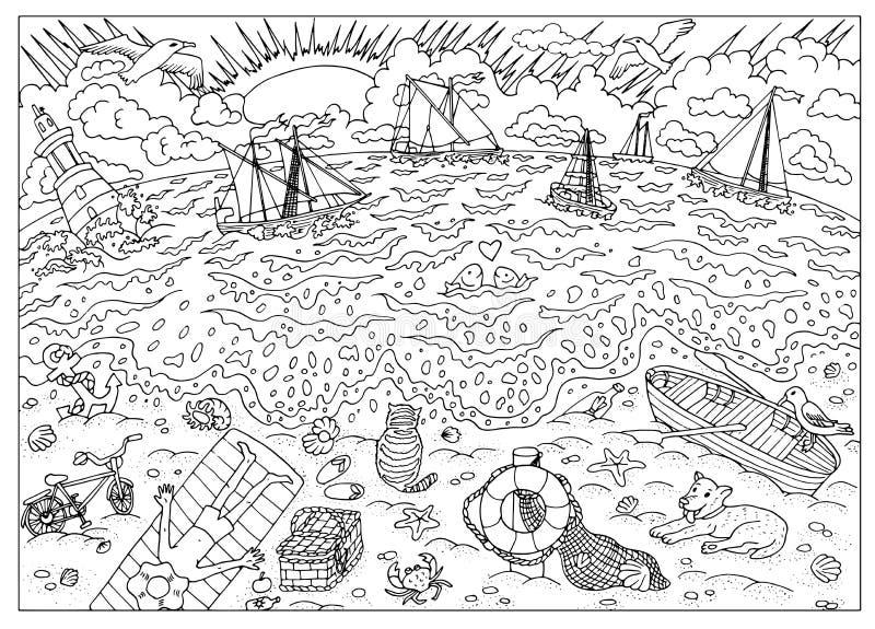 Kleurende boekpagina Strand na onweer vector illustratie