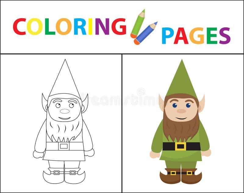 Kleurende boekpagina voor jonge geitjes Forest Gnome Schetsoverzicht en kleurenversie Het Onderwijs van kinderen Vector illustrat stock illustratie