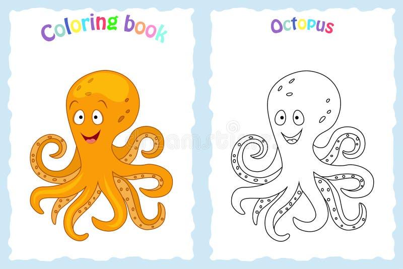 Kleurende boekpagina voor kinderen met kleurrijke octopus en schets aan kleur Peuteronderwijs Vector illustratie royalty-vrije illustratie